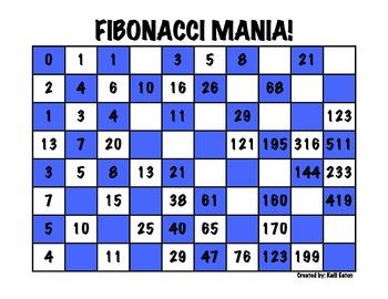 Fibonacci Mania! A fun game to practice the Fibonacci Sequence!