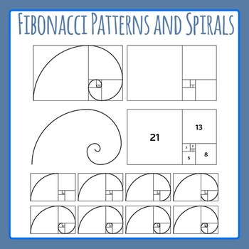 Fibonacci Spirals and Ratios Clip Art for Commercial Use