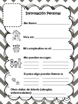 photo regarding Printable Spanish.com named Ficha: Mi información individual/ My person articles