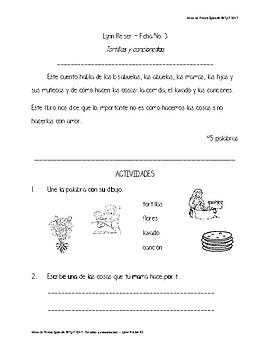 Ficha comprension lectora - Tortillas y cancioncitas