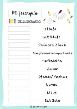 Ficha de jerarquía de subrayado por colores