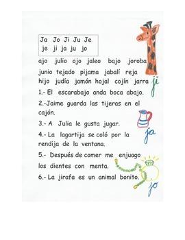 Lectura de la letra J