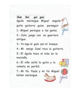 Lectura de las sílabas Gue Gui