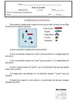 Ficha de trabalho coordenadas cartesianas - Batalha Naval (Português)
