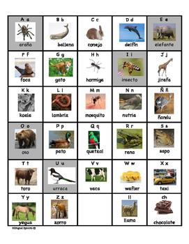Ficha del abecedario en español- Spanish Alphabet Chart