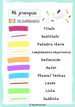 Ficha jerarquía de subrayado por colores