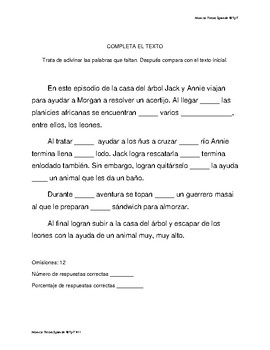 Comprension lectora Casa del arbol #11 Leones a la hora del almuerzo