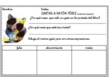 """Fichas de comprensión lectora sobre el cuento """"Cartas a Ratón Pérez""""."""