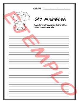 Fichas de escritura en Español. Spanish writing worksheet.  Volumen 1.