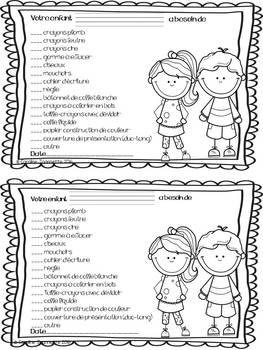 Fiche Votre enfant a besoin de...(renouvellement scolaire)