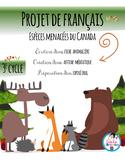 Fiche animalière sur une espèce menacée du Canada