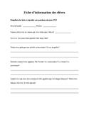 Fiche d'information des élèves/ Student Information Sheet
