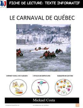 Fiche de lecture: Le carnaval de Québec, French immersion (#324)