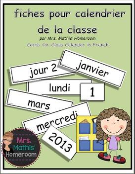 Fiches pour calendrier de la classe (French Class Calendar)
