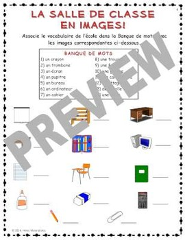 Fiches d'exercices pour l'école (Worksheets for French School Vocabulary)