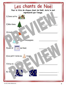 Fiches pour les Chants de Noël (Worksheets on Names of French Christmas Carols)