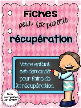 Fiches pour les parents -- la récupération