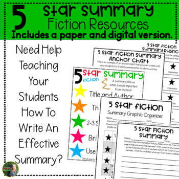 Fiction 5 Star Summary Resources