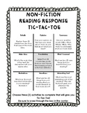 Fiction AND Non-Fiction Reading Response Tic-Tac-Toe