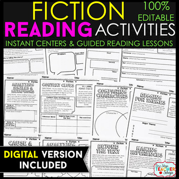 Fiction Reading Centers | Graphic Organizers for Reading 100% EDITABLE