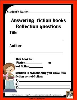 Fiction -Answering  Fiction Books -Reflection Questions