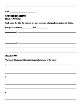 Fiction Before/During/After Worksheet