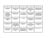 Fiction Bingo Board Upper Elementary