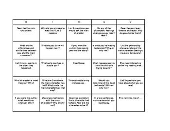 Fiction Bingo Board Upper Elementary