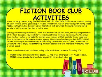 Fiction Book Club Activities