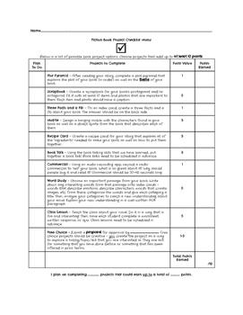 Fiction Book Project Checklist Menu