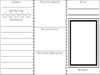 Fiction Book Report Brochure for ANY Text or Novel
