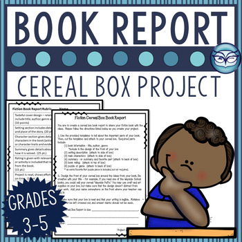 Fiction Book Report - Cereal Box Book Project for grades 3-6