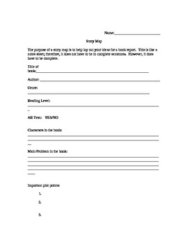 Fiction Book Report Guidelines, Story Map, and Rubric
