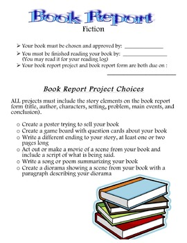 Fiction Book Report Home Project