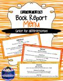 Fiction Book Report Menu