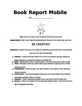 Fiction Book Report Mobile