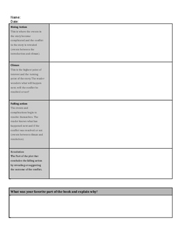 Fiction Book Report Template