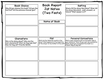 Book Report Project For Fiction: Tiered Report Writing Templates