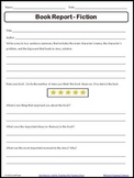 Fiction Book Report Worksheet