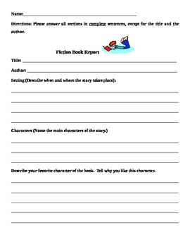 Fiction Book Report and Rubric