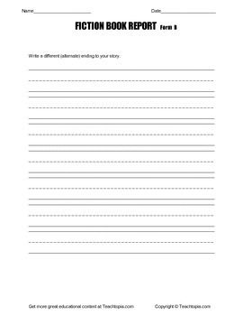 Fiction Book Report for Primary Grades Form B