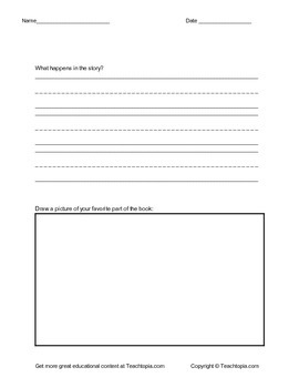 Fiction Book Report for Primary Grades Form C