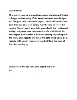 Fiction Book Report with Rubric