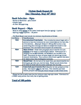 Fiction Book Report/Poster Rubric