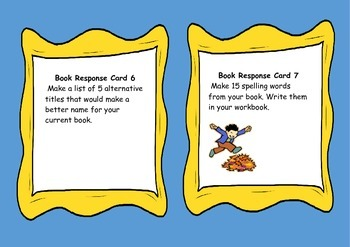 Fiction Book Response Cards