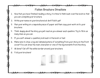 Fiction Brochure Reading Response and Graphic Organizer