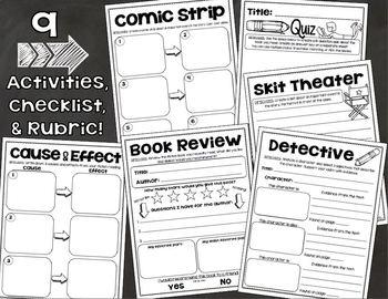 Fiction Choice Board Activities Menu Tic Tac Toe Reading Response