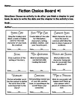 Fiction Choice Board Freebie