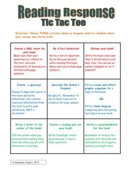 Fiction Choice Board: Tic Tac Toe