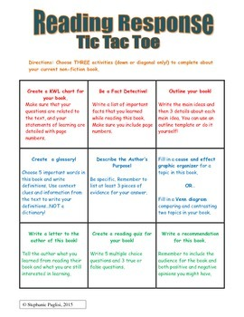 Fiction Choice Board: Tic Tac Toe